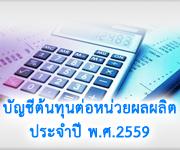 บัญชีต้นทุนต่อหน่วยผลผลิตประจำปี พ.ศ.2559